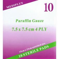 פד פרפין לטיפול בכוויות פצעי לחץ, השתלות עור ופצעים עמוקים סטרילי 10 יחידות